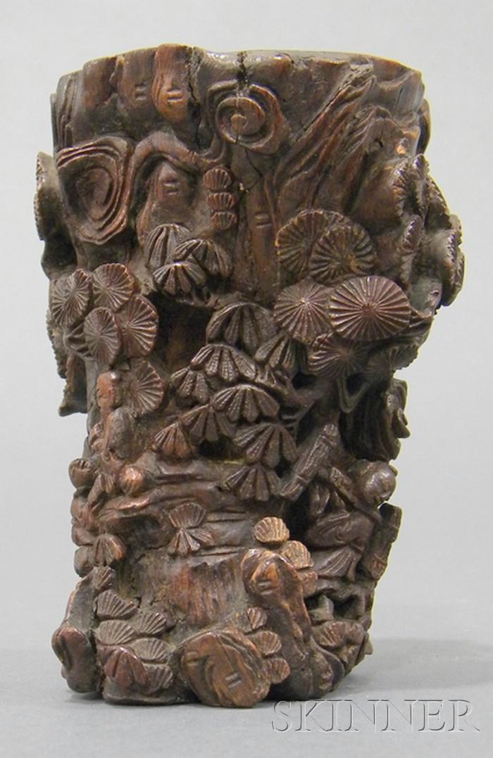 Wood Brush Pot