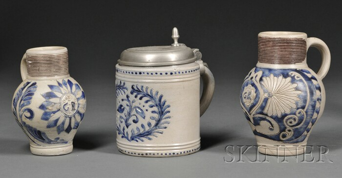 Three Westerwald Cobalt Blue Decorated Stoneware Vessels