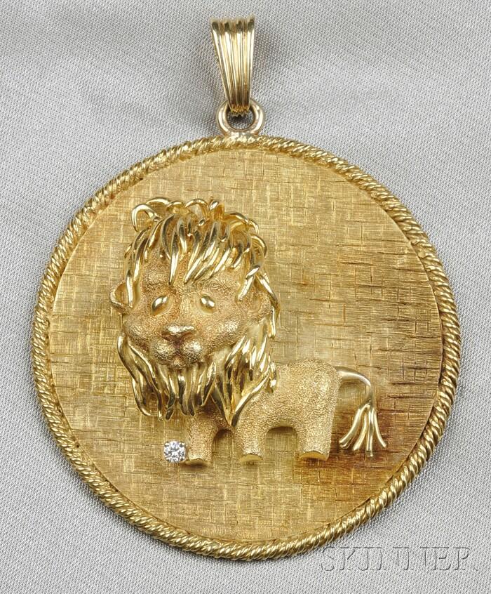 18kt Gold and Diamond Lion Pendant