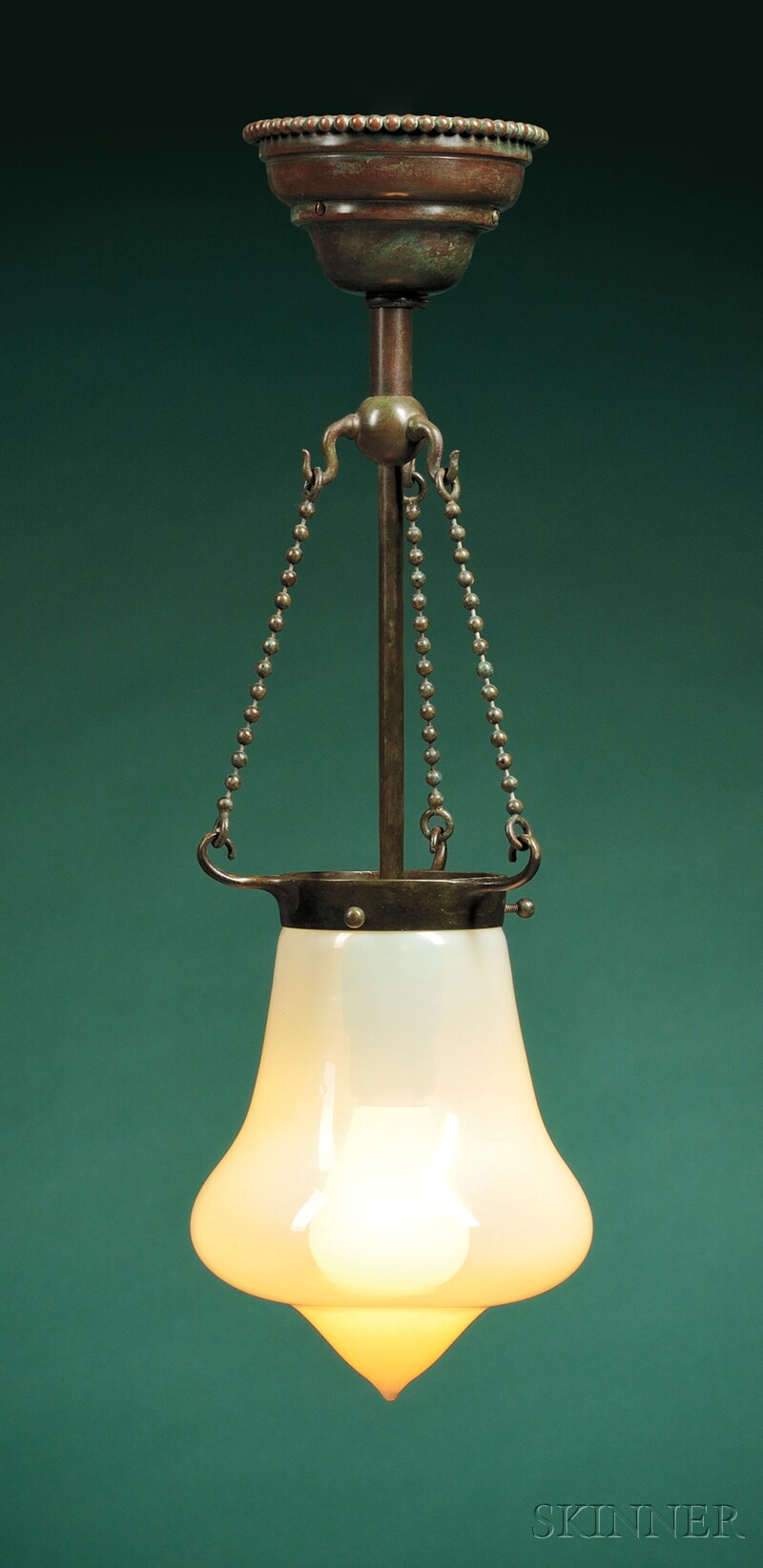 Bronze and Art Glass Hall Fixture Attributed to Tiffany