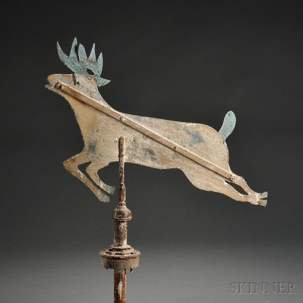 Painted Sheet Copper and Iron Deer Weathervane
