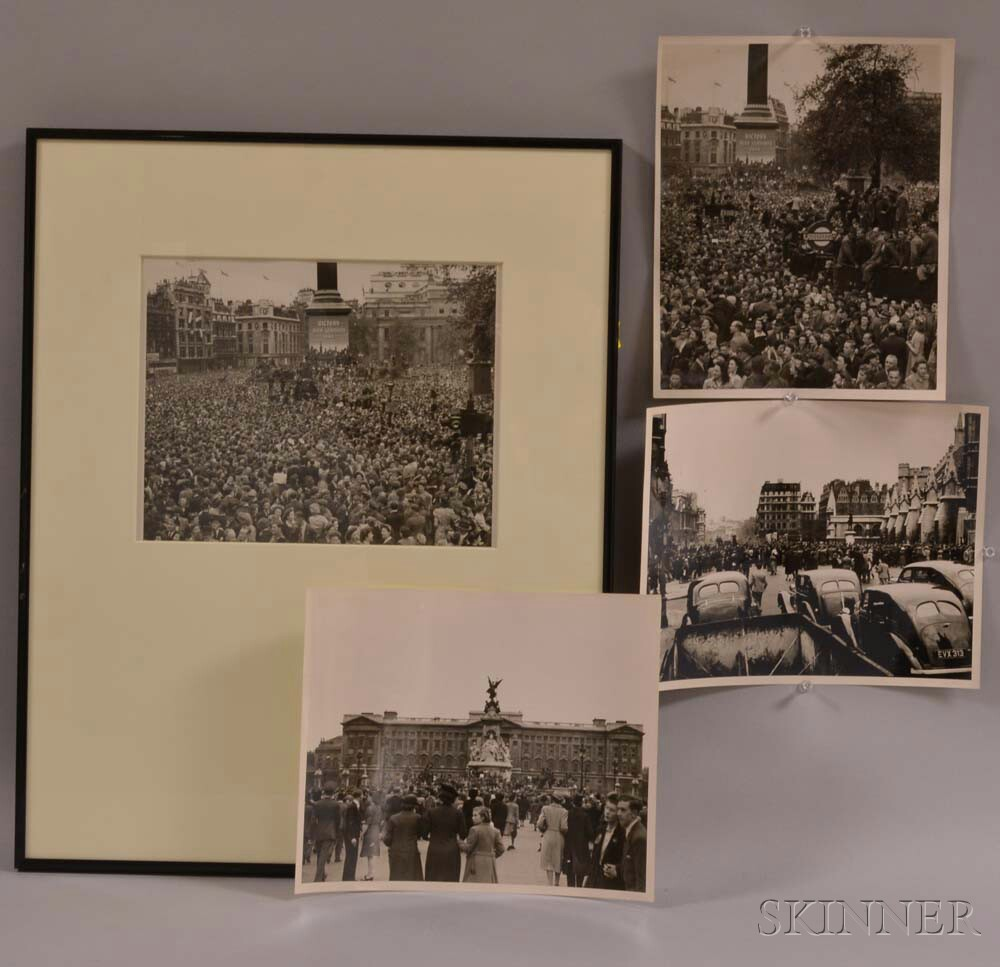 British School, 20th Century      Four Photographs of VE Day Celebrations in London