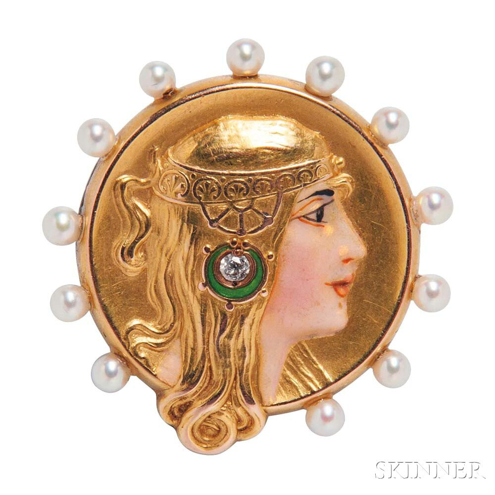 Art Nouveau 14kt Gold, Enamel, and Pearl Watch Pin, Alling & Company