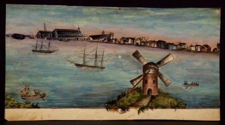 Attributed to Henry Schreiner Stellwagen (American, d. 1866)    Navy Yard at Norfolk.