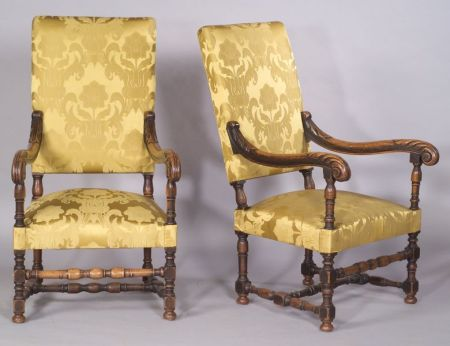Pair of Continental Baroque-style Carved Beechwood Open Armchairs