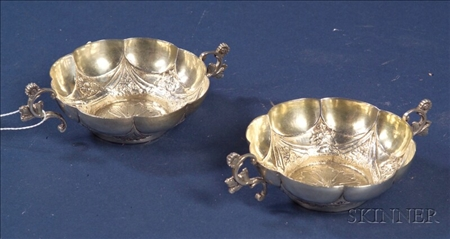 Pair of Spanish Colonial Silver Lobed Bowls