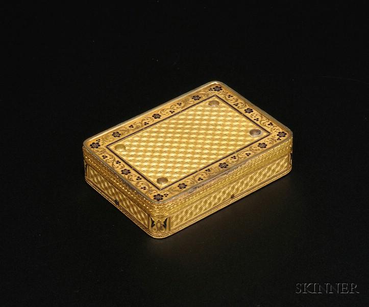 Rare 18kt Gold Sur-Plateau Musical Snuff Box