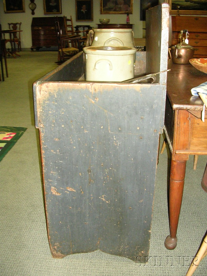 Blue-gray-painted Pine Dry Sink