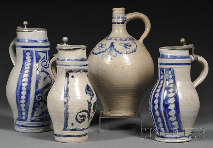 Four Cobalt Blue Decorated Stoneware Jugs
