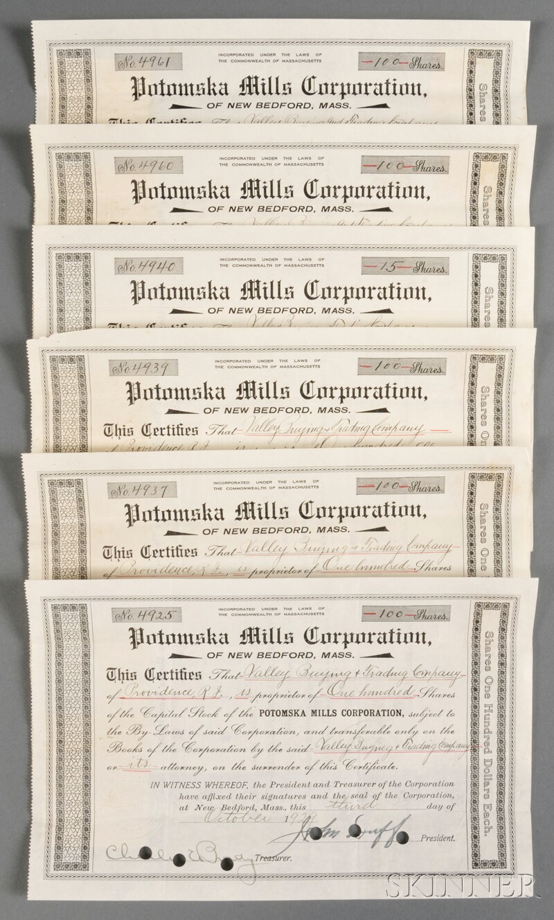 Group of Potomska Mills Corporation Stock Certificates and Transfer Documents