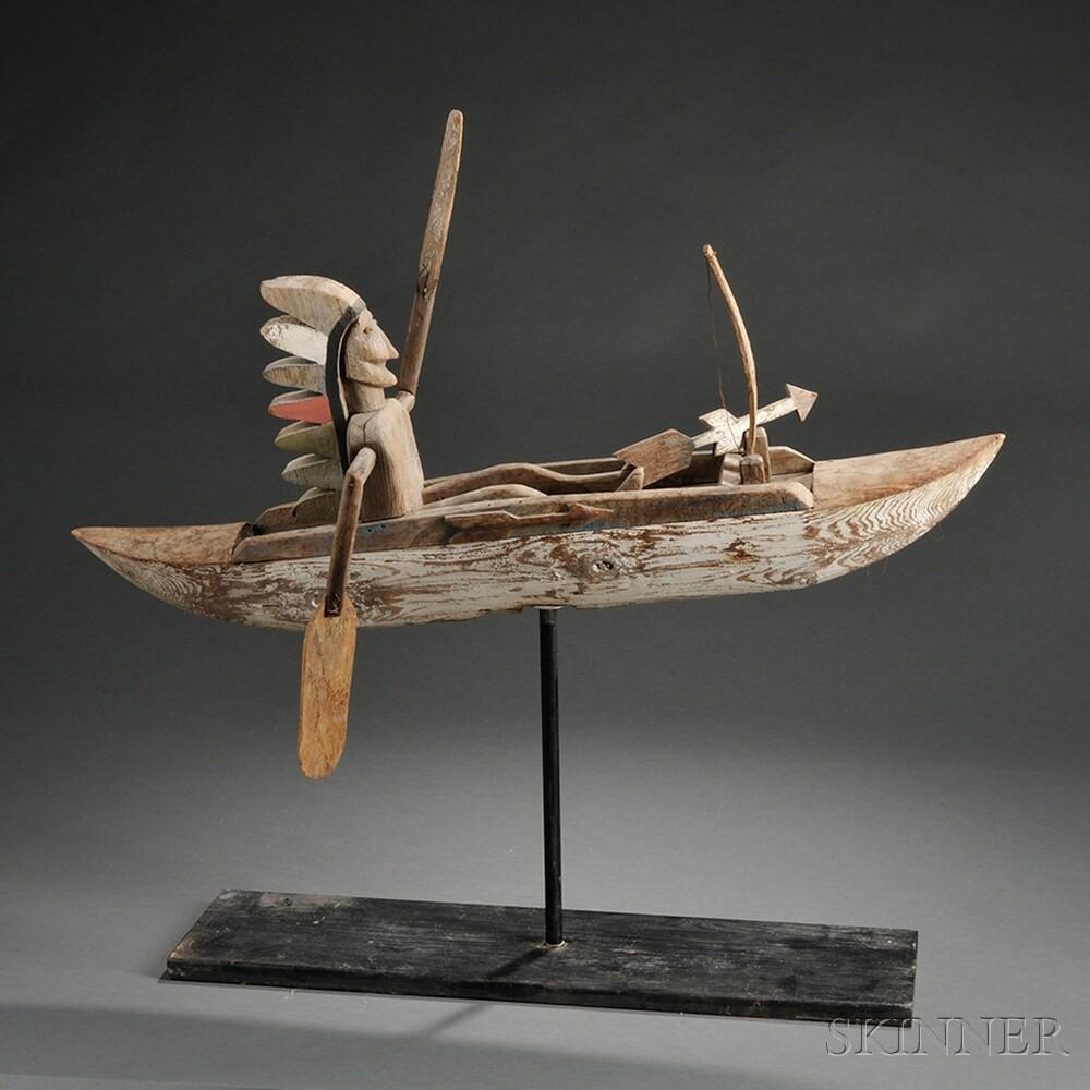 Indian in Canoe Whirligig