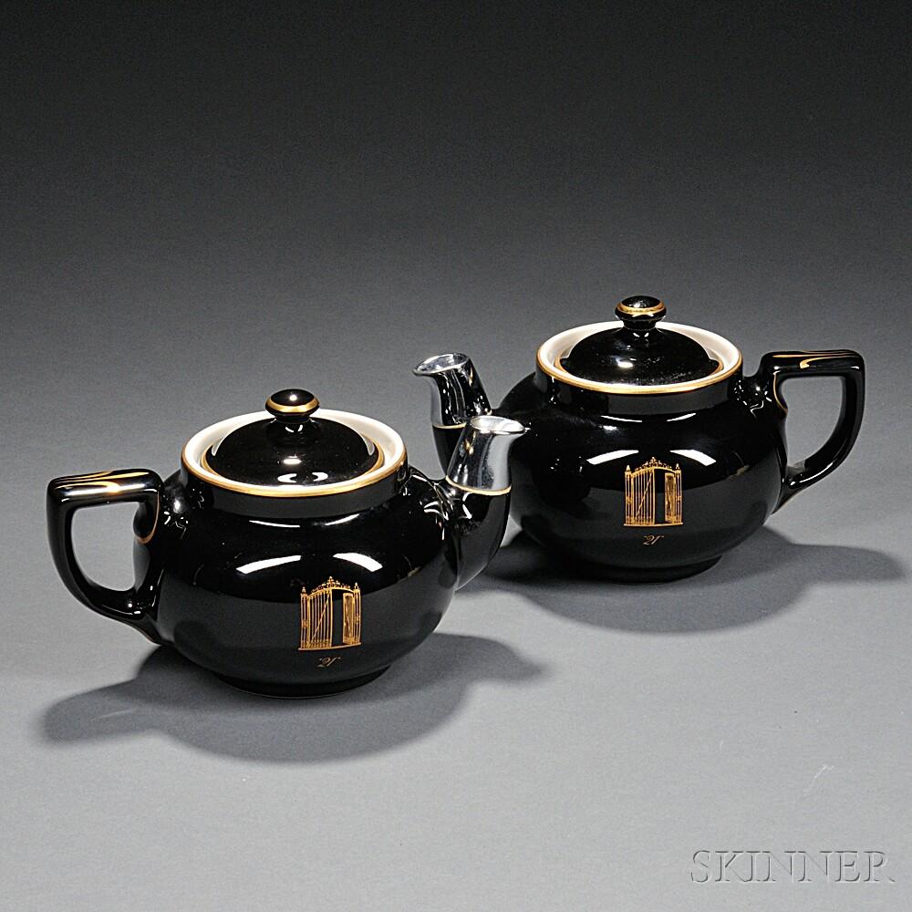 "Pair of ""21 Club"" Teapots"
