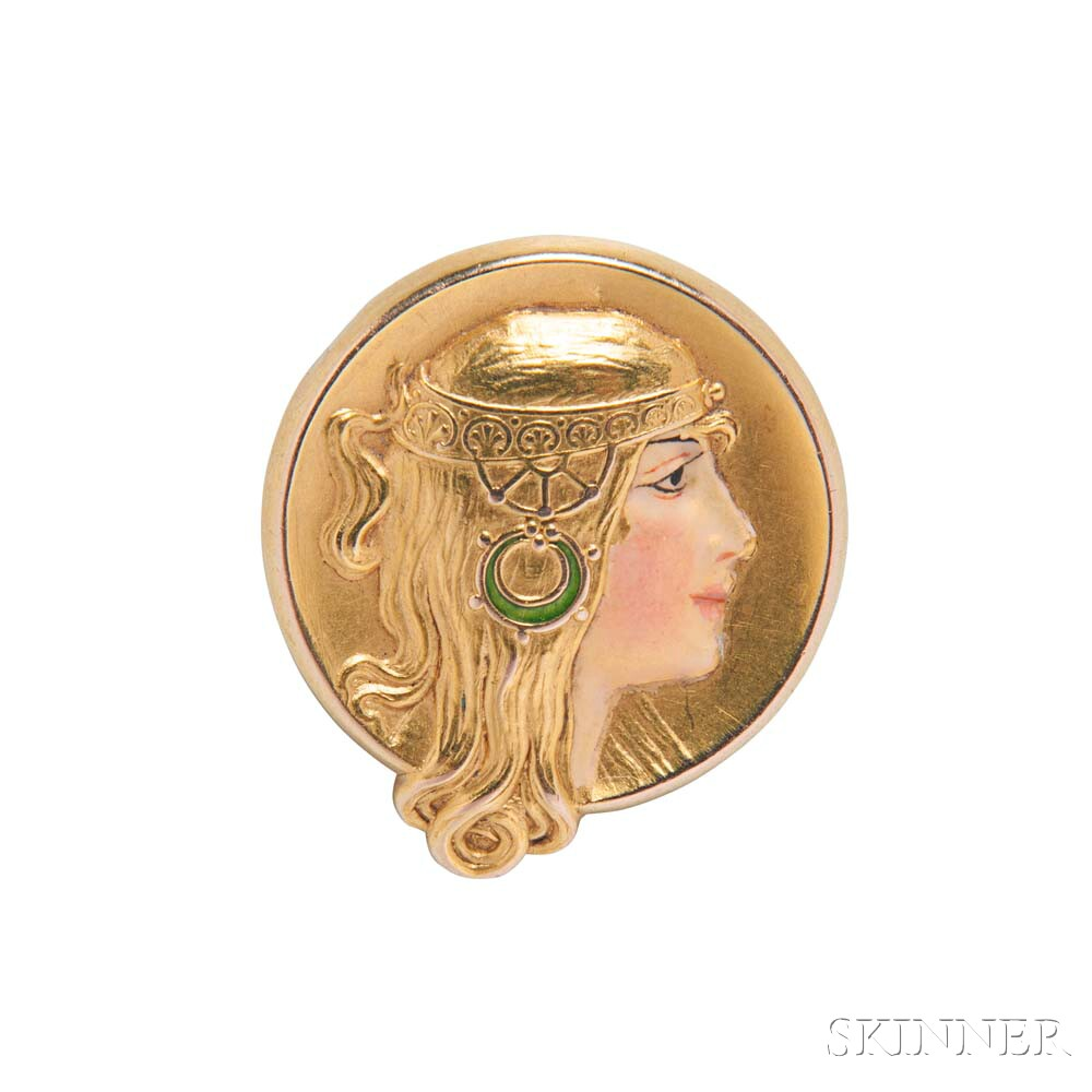 Art Nouveau 14kt Gold and Enamel Watch Pin, Alling & Company