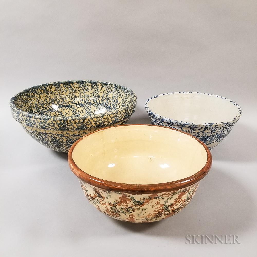 Three Large Spongeware Ceramic Bowls