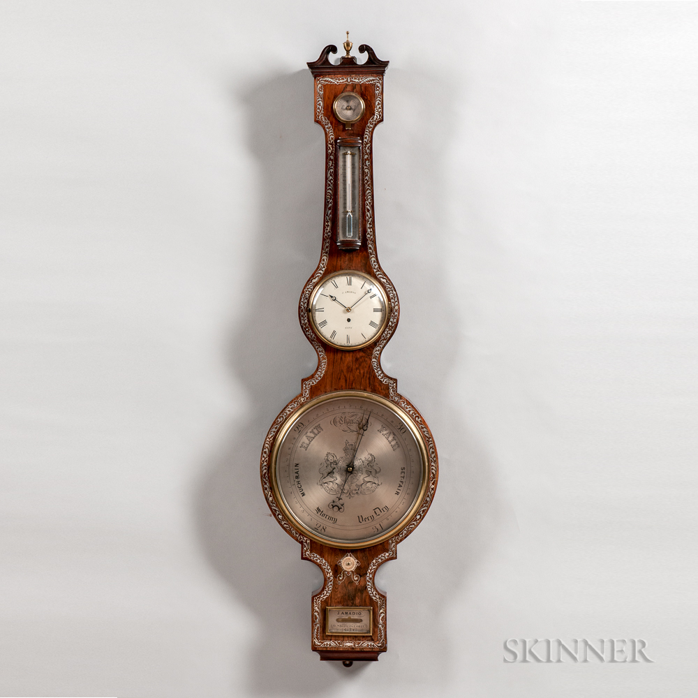 Monumental Mother-of-pearl-inlaid Mercury Wheel Barometer and Clock