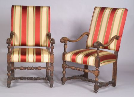 Pair of Continental Baroque-style Walnut Open Armchairs