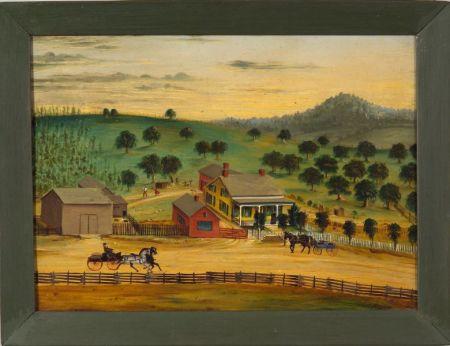 Attributed to Joseph H. Hidley (American, 1830-1872)    Farm Scene.