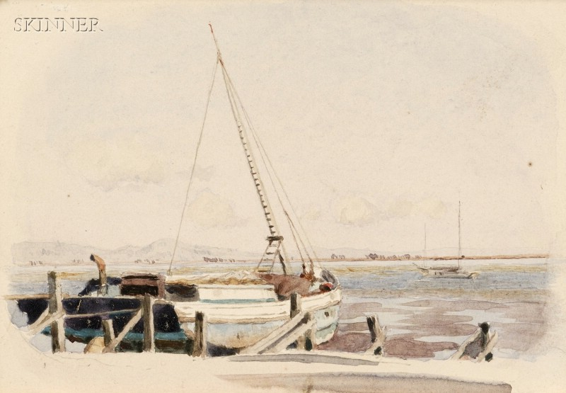 Anglo/American School, 19th Century      Sailboat in the Harbor