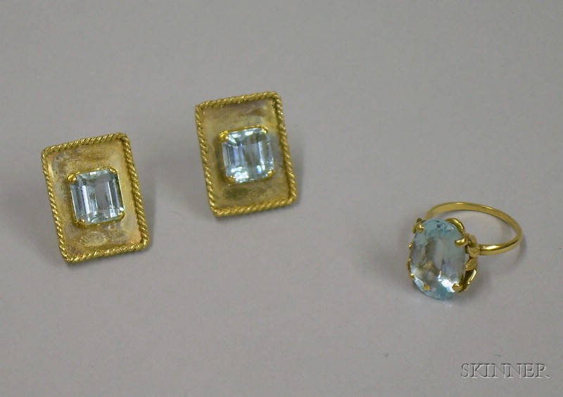 Two 14kt Gold and Aquamarine Jewelry Items
