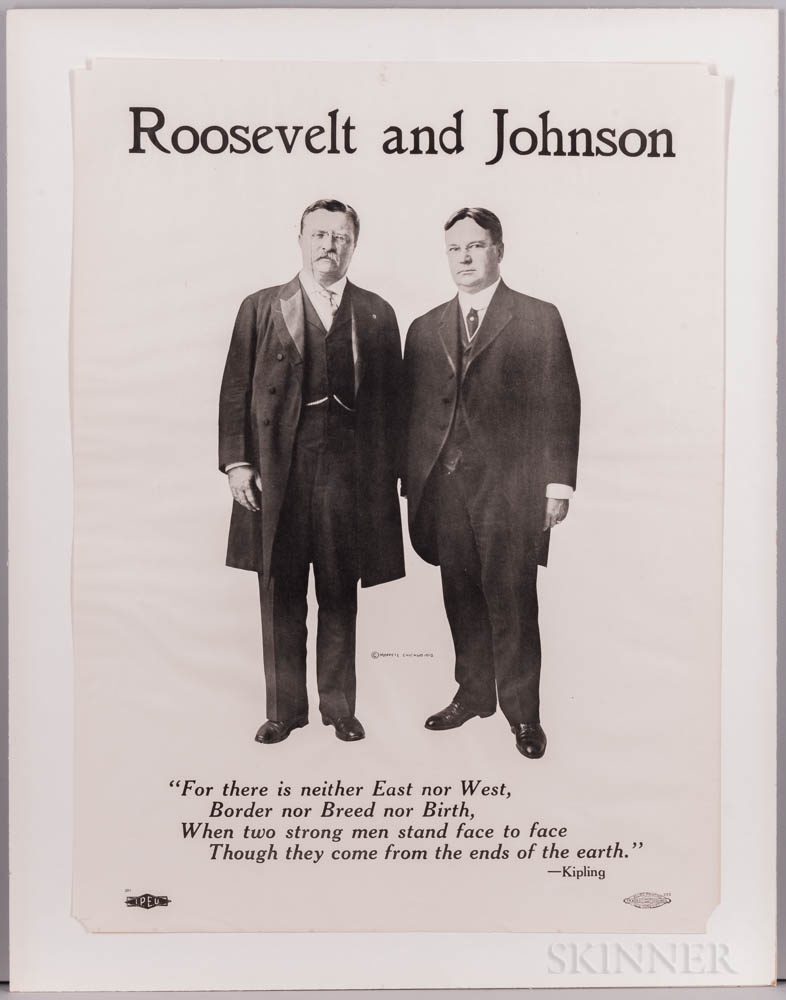 Roosevelt, Theodore (1858-1919) and Hiram Johnson (1866-1945) Presidential Campaign Poster, 1912.