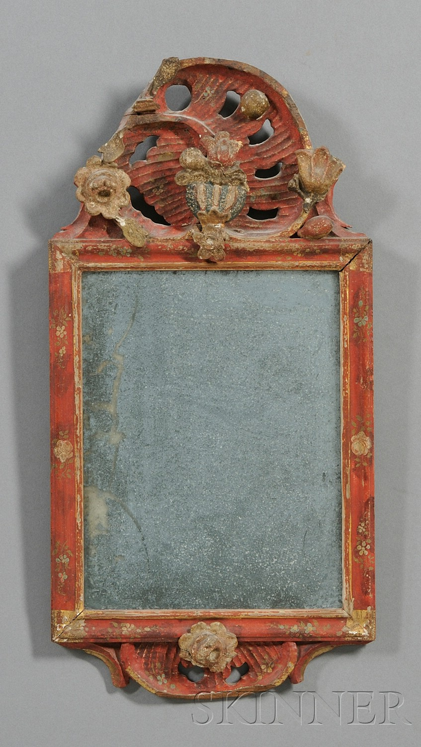 Gesso Vermilion-painted and Carved Mirror