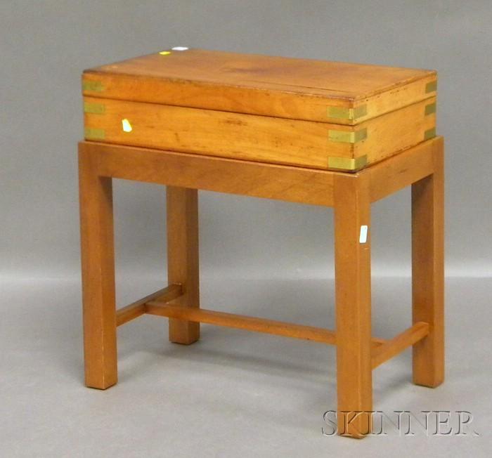 Brass-bound Mahogany Velvet Ribbon Storage Box and Cover