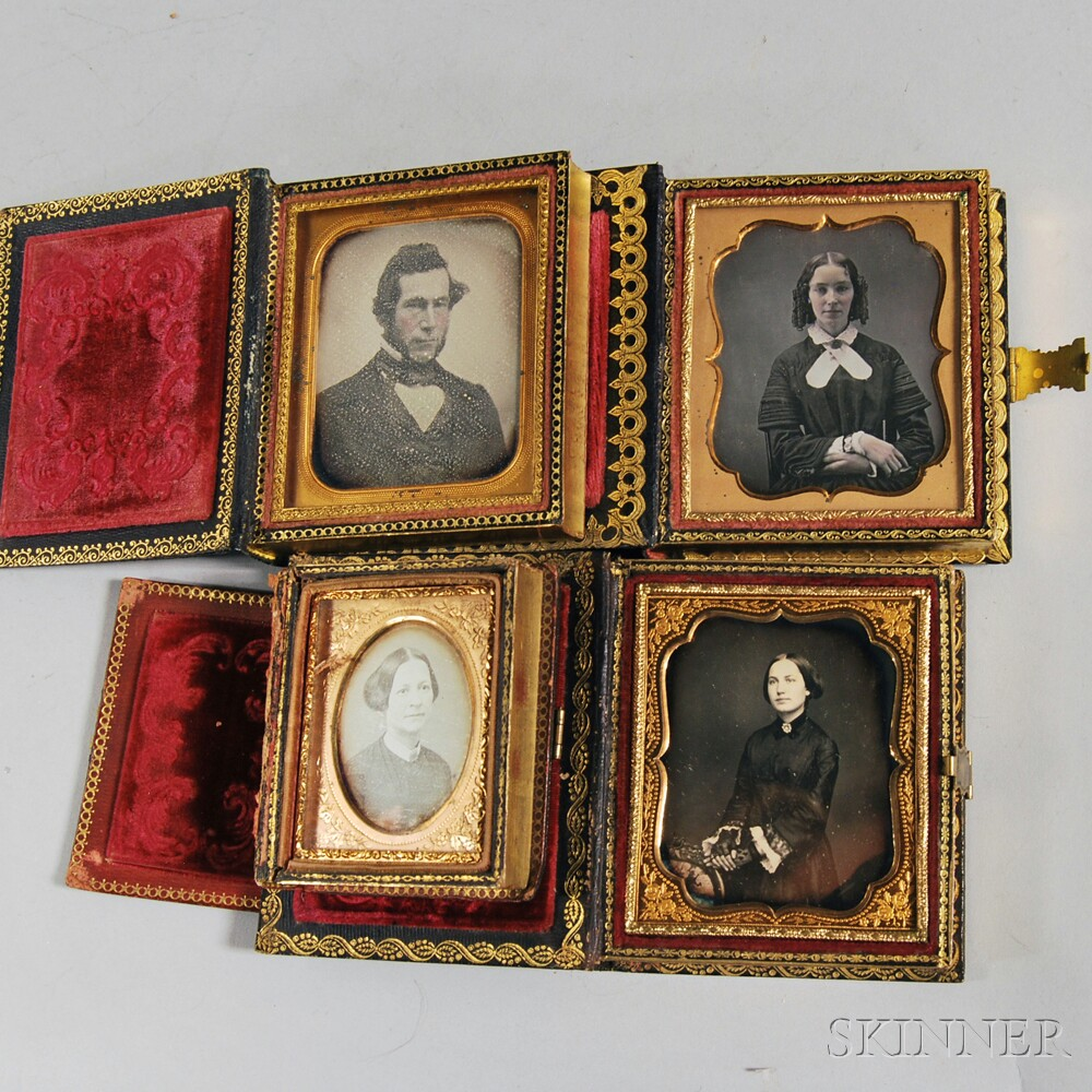 Seven Daguerreotype Portraits in Four Inlaid