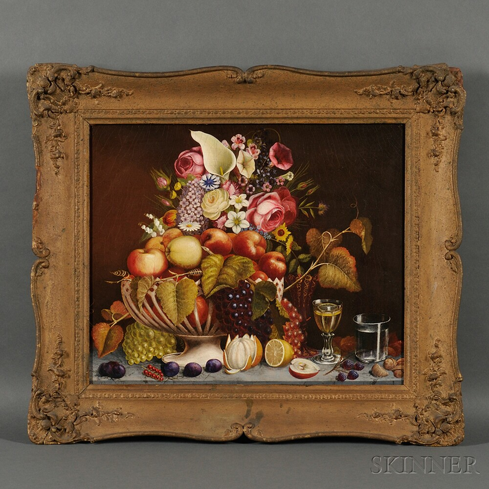 American School, 19th Century      Tabletop Still Life with Porcelain Basket of Fruit and Flowers.