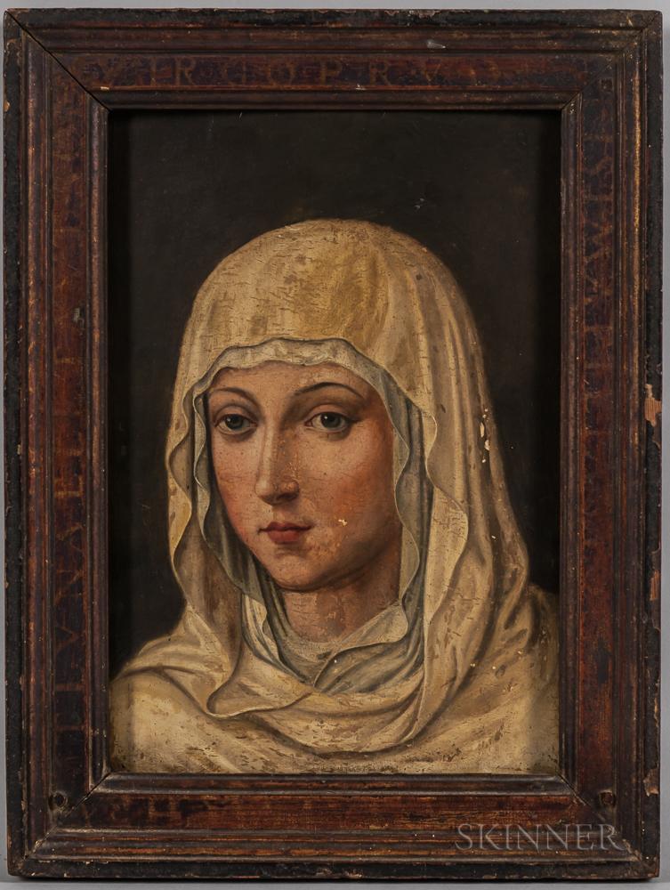 European School, 19th Century      Portrait Head of a Female Saint