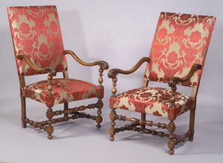 "Pair of Flemish Baroque-style Carved Walnut ""Great Chairs"""