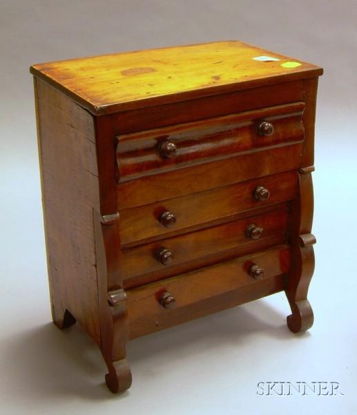 Miniature Classical Mahogany Veneer Bureau.