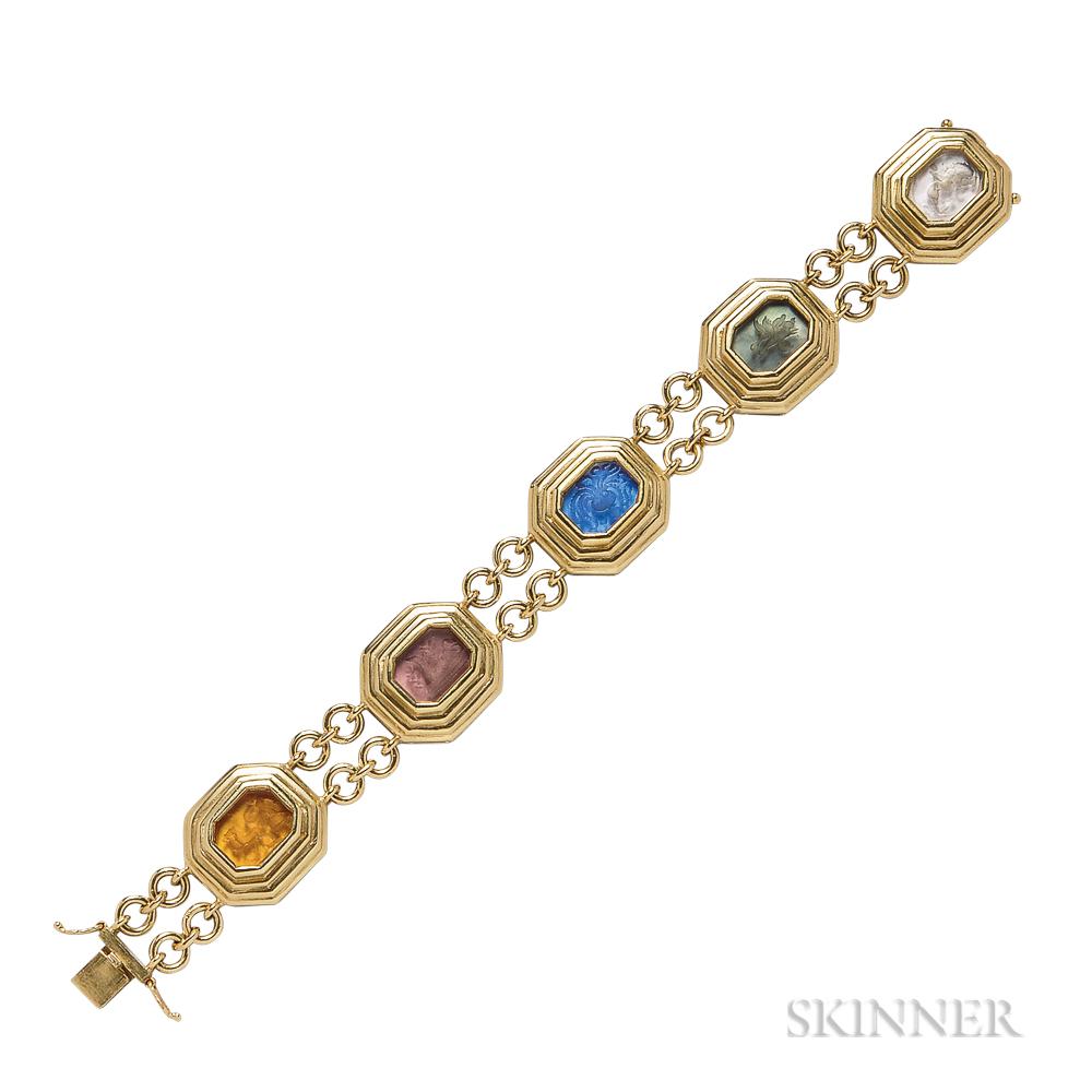 """18kt Gold and Glass Intaglio """"Zoo"""" Bracelet, Elizabeth Locke"""