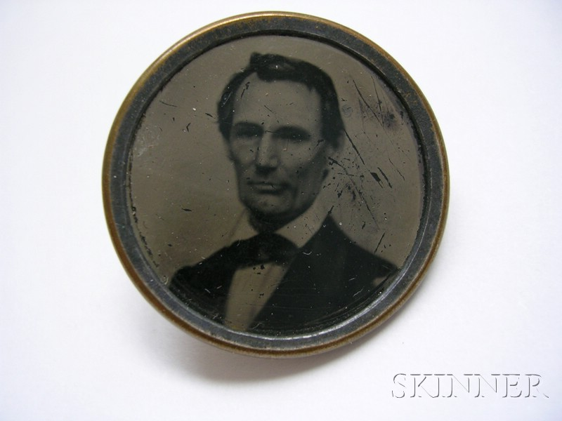 Lincoln Campaign Ferrotype Brass-mounted Shank Button