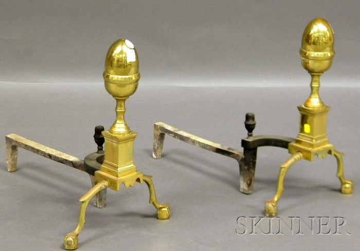 Pair of Brass Lemon-top Andirons