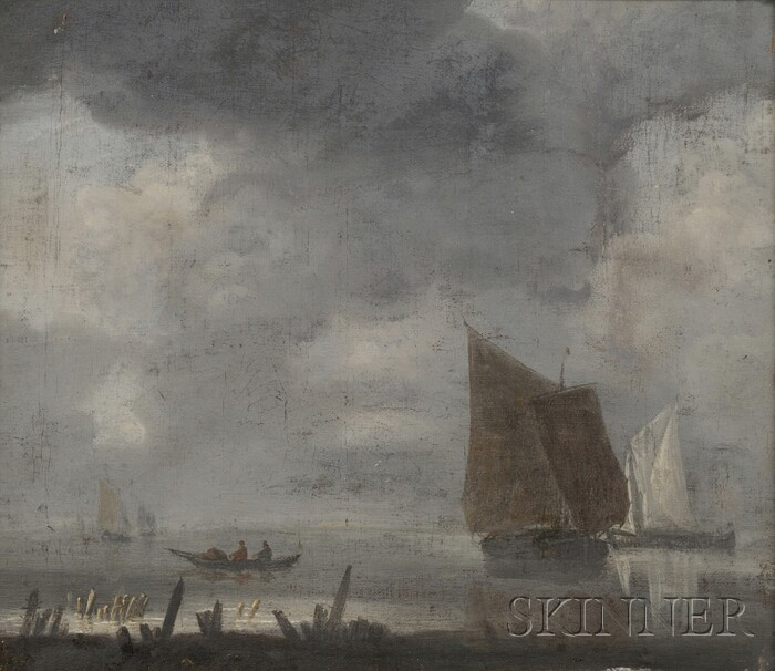 Manner of Jan van de Cappelle (Dutch, 1624-1679)      Shore Scene with Sailing Vessels under Gray Skies.