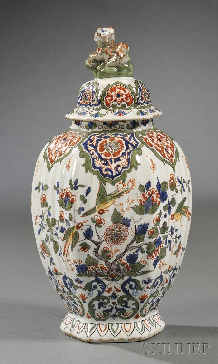 Polychrome Decorated Delft Vase and Cover