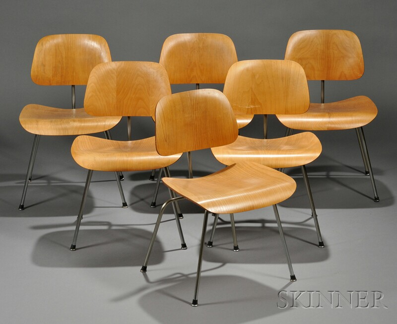 Six Charles Eames DCM Chairs