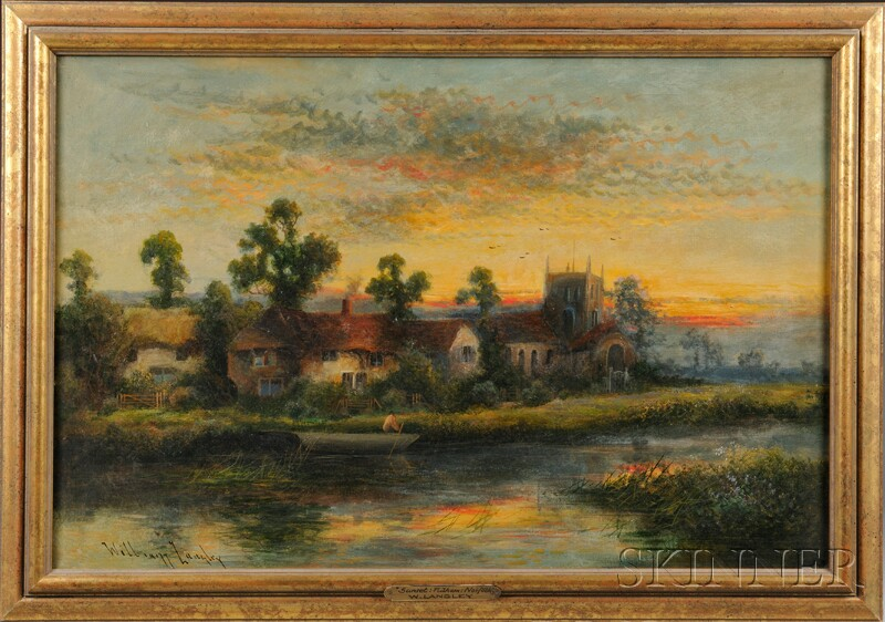 William Langley (British, fl. 1880-1920)      Riverside Landscape at Sunset.