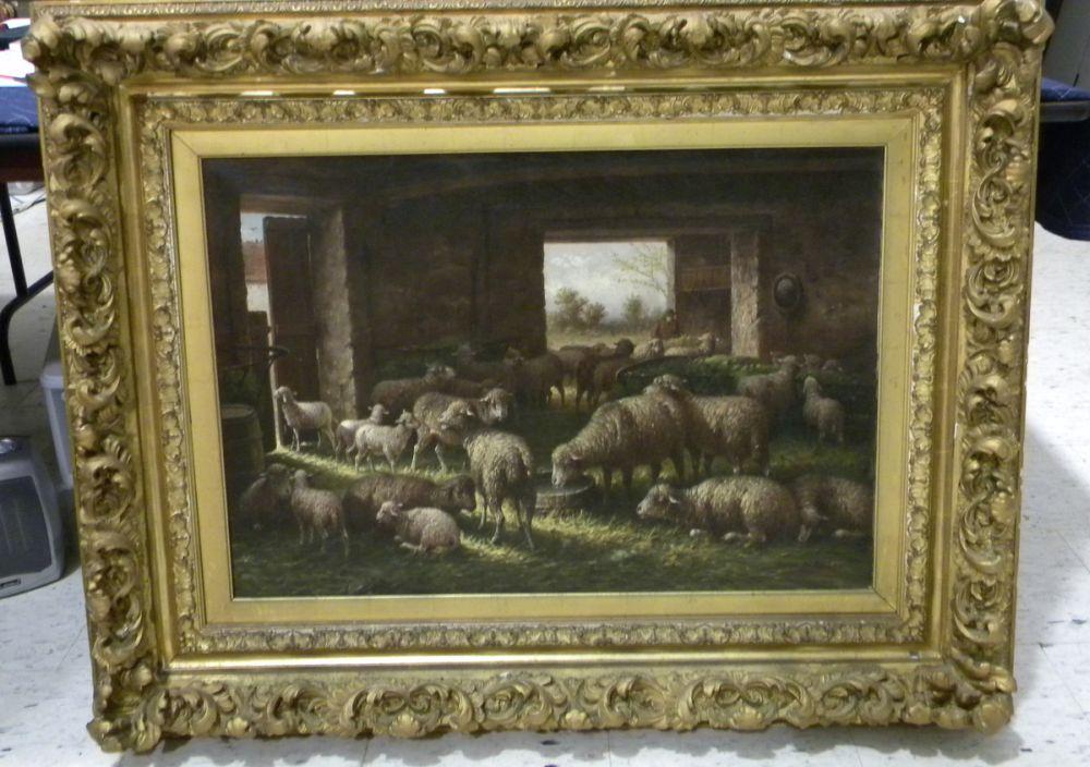 Henri de Buel (Belgian, 1845-1900)      Sheep in a Stone Barn