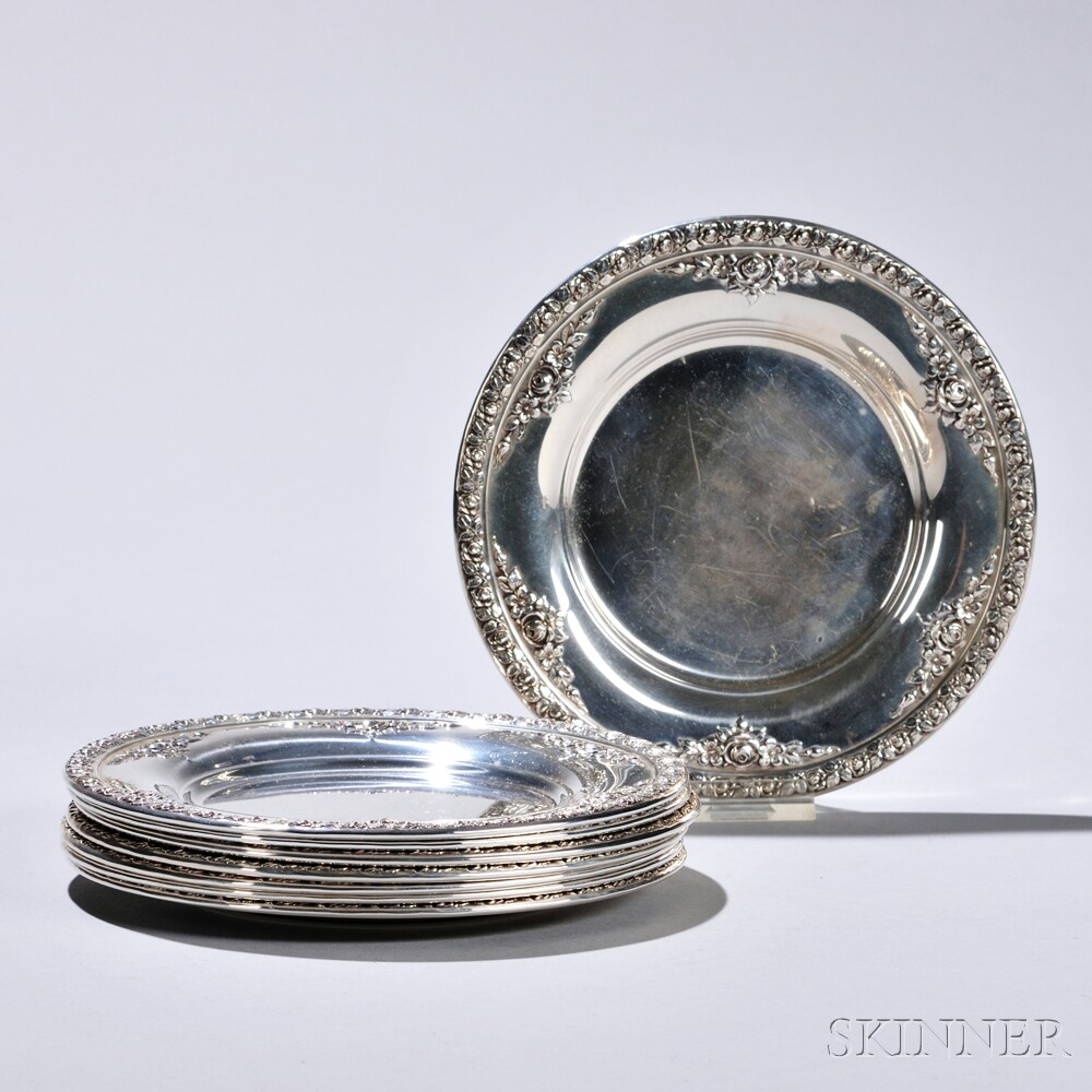 """Eight Wallace """"Normandie"""" Pattern Sterling Silver Bread Plates"""