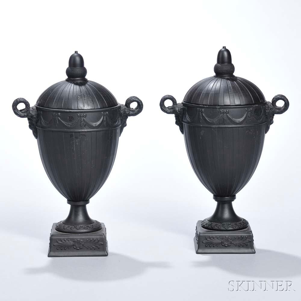 Pair of Wedgwood Black Basalt Engine-turned Vases and Covers