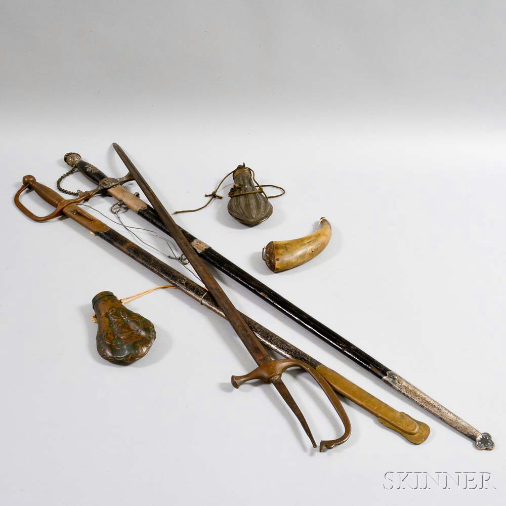 Three Swords and Three Powder Flasks.     Estimate $200-300