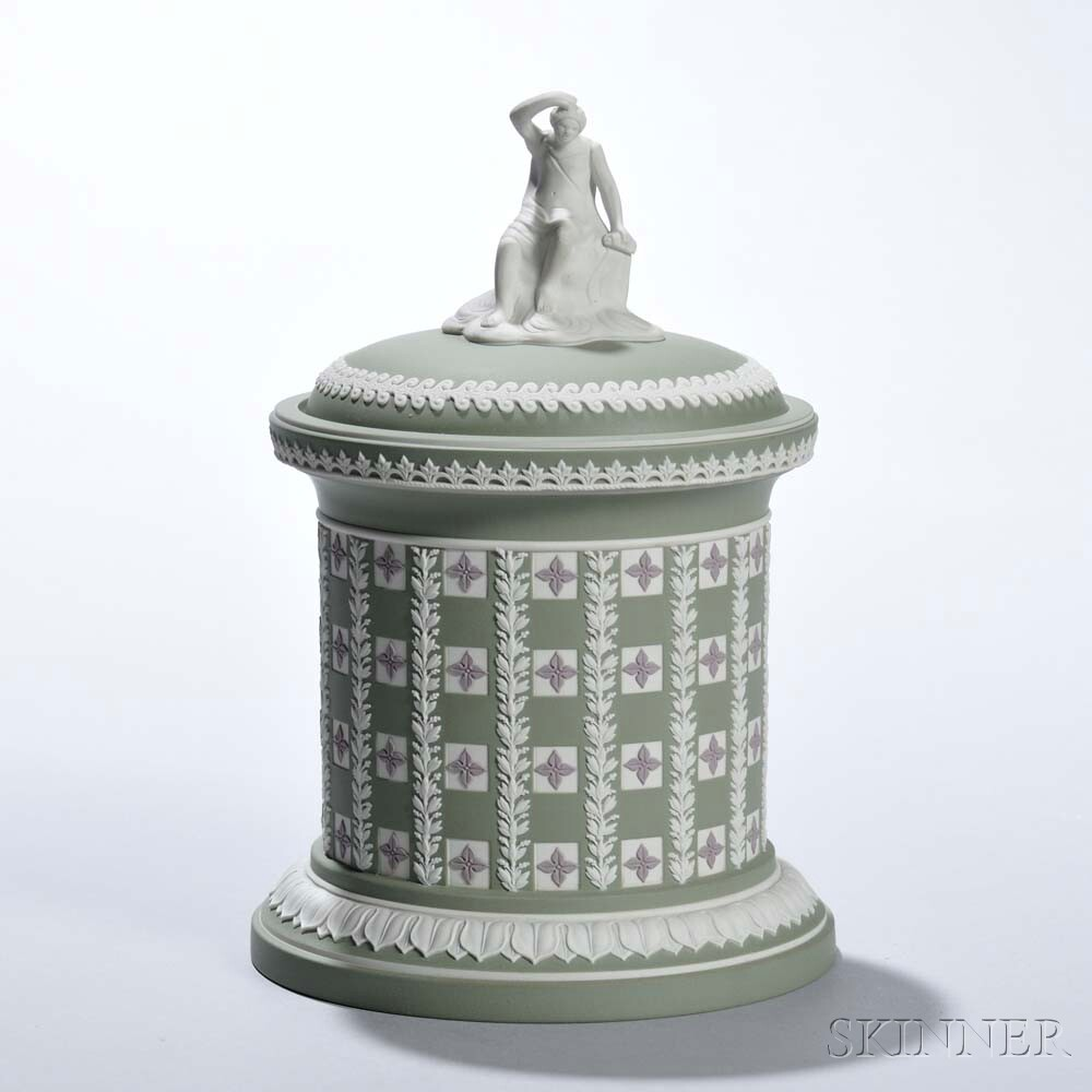 Modern Wedgwood Tricolor Diceware Tobacco Jar and Cover