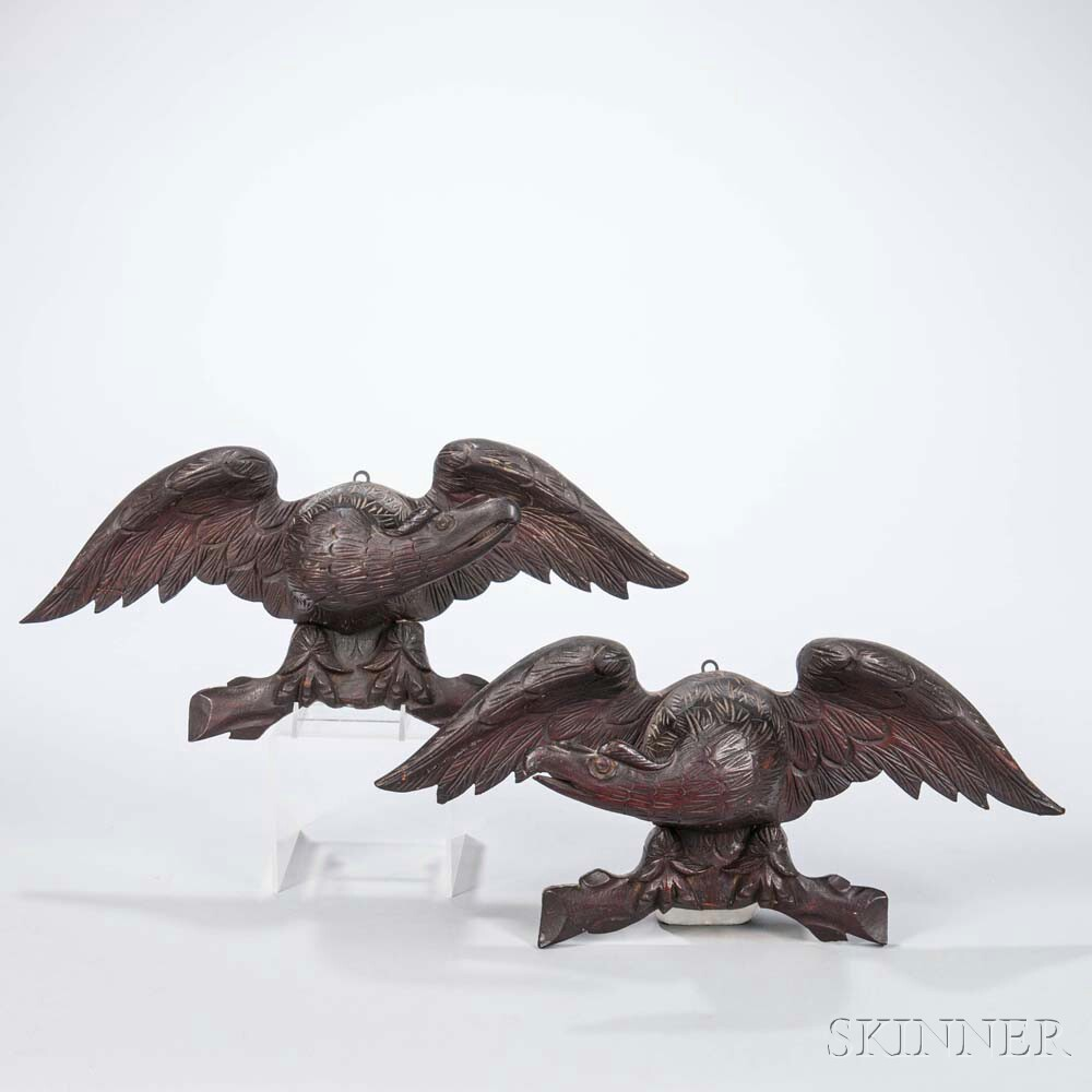 Pair of Carved Eagle Wall Plaques