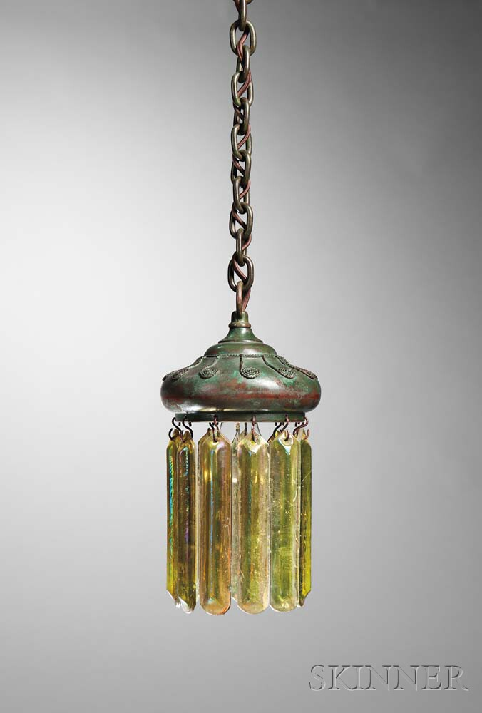 Hanging Lamp with Prisms Attributed to Tiffany Studios