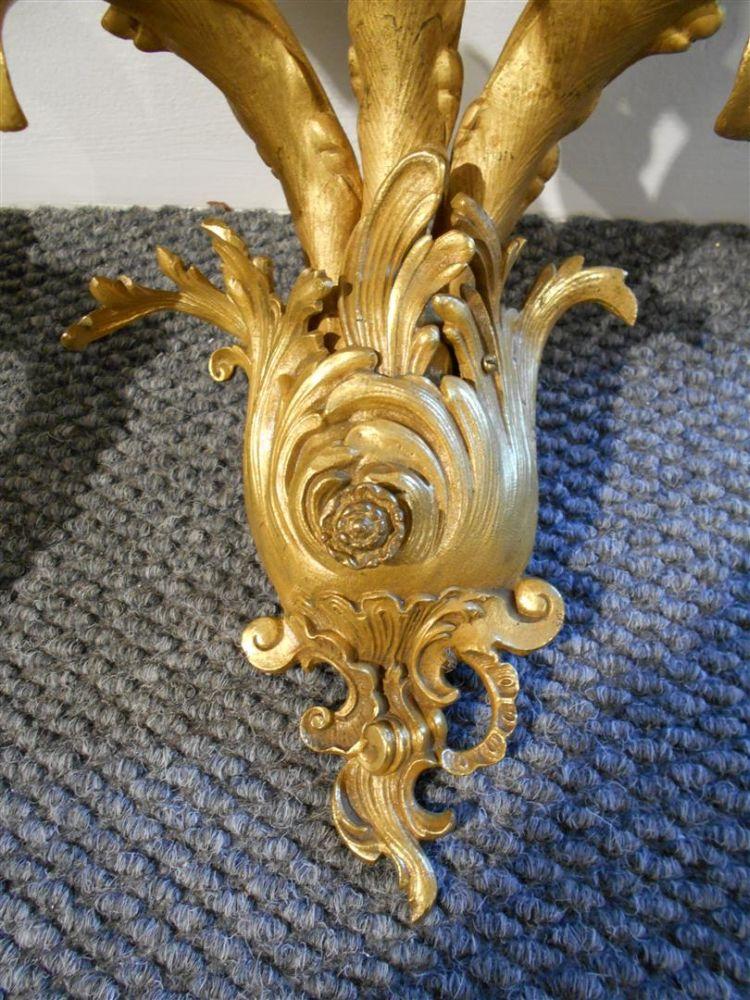 Pair of Three-light Gilt-bronze Sconces