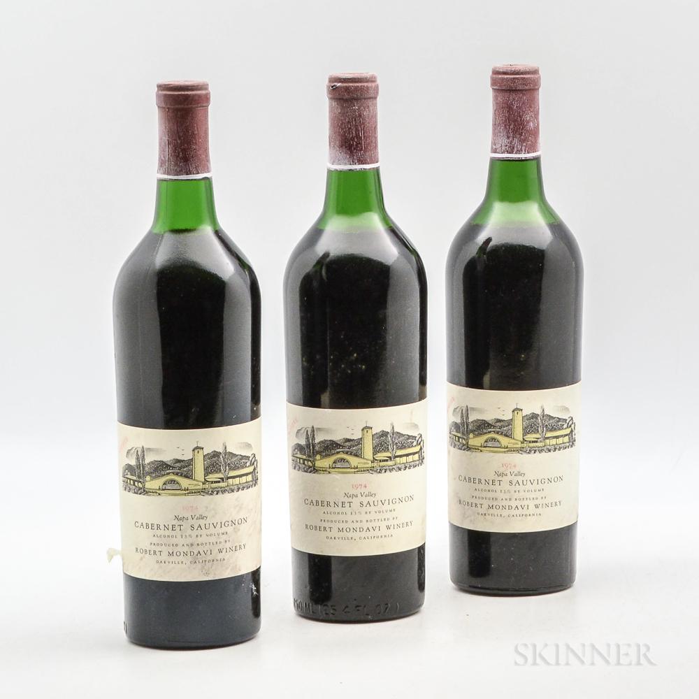 Robert Mondavi Cabernet Sauvignon Reserve 1974, 3 bottles