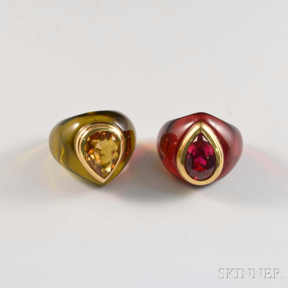 Two Resin Gem-set Rings