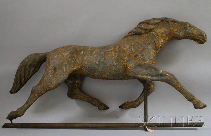 Large Molded Tin Full-body Running Horse Weather Vane