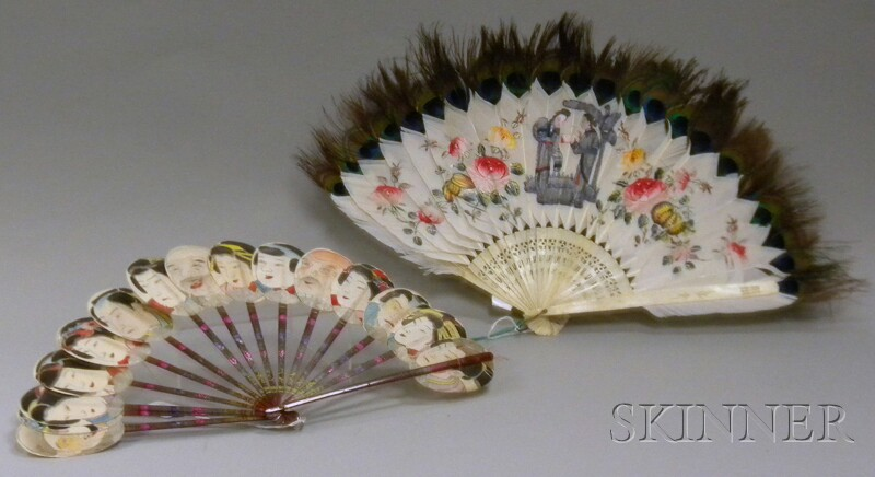 Two Asian Painted Hand Fans